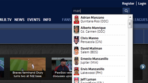 MiLB.com's auto-suggest feature makes every Minor League player page a cinch to find.